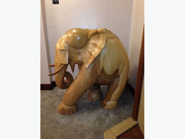 LARGE OAK CARVED ELEPHANT SCULPTURE