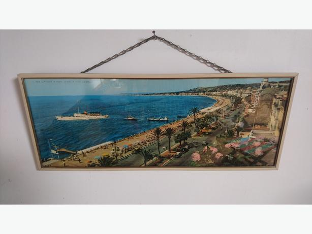 VINTAGE 1960S LARGE PANORAMIC PHOTO NICE FRANCE FAB HOME DECOR DISPLAY