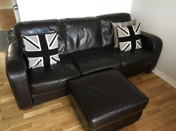 Leather 3 seater, 2 seater & storage footstool