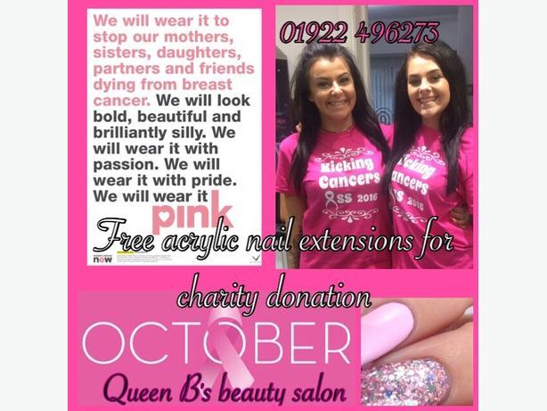 acrylics £5 donation breast cancer