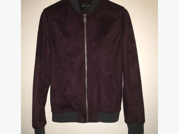 Mens dark red suede bomber jacket SIZE SMALL