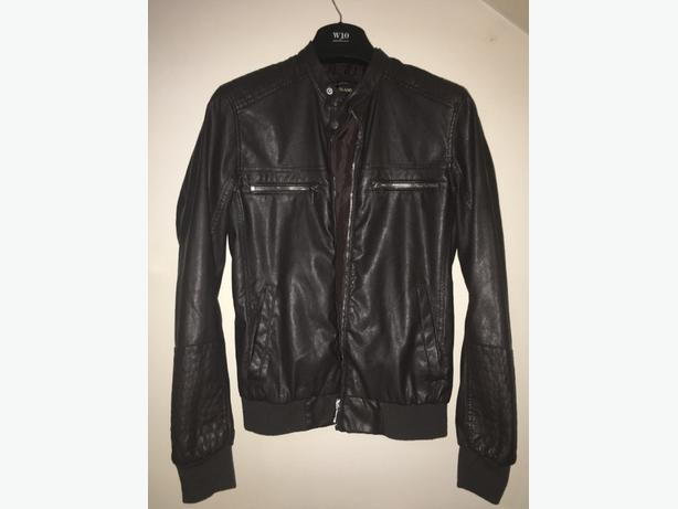 Mens River Island Faux Leather Jacket