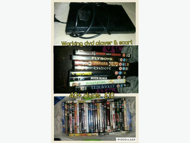 40+ dvds and dvd player
