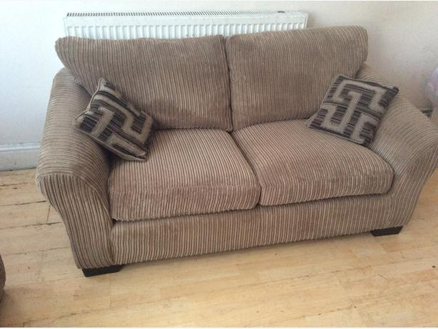 X2 LOVELY LIGHT BROWN CORD FABRIC TWO SEATER SOFAS