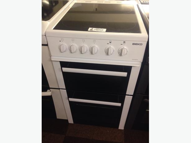 BEKO 50CM FAN ASSISTED DOUBLE OVEN ELECTRIC COOKER