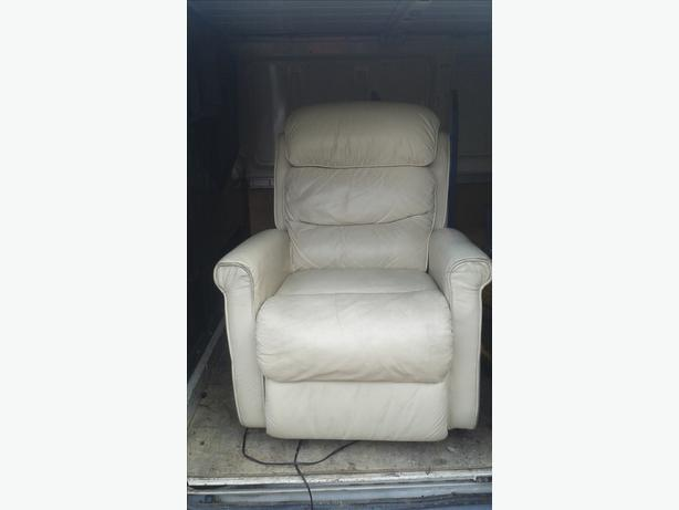 cream leather electric recliner and riser