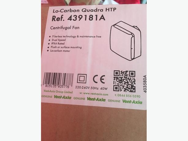 Vent Axia Lo-carbon Quadra HTP Centrifugal Bathroom Fan - Brand New