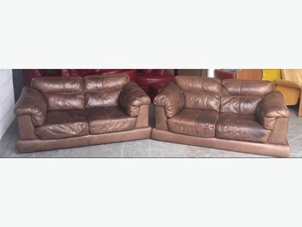 Very High Quality Distressed Aniline Leather Sofa Set Two 2 Seaters. WE DELIVER