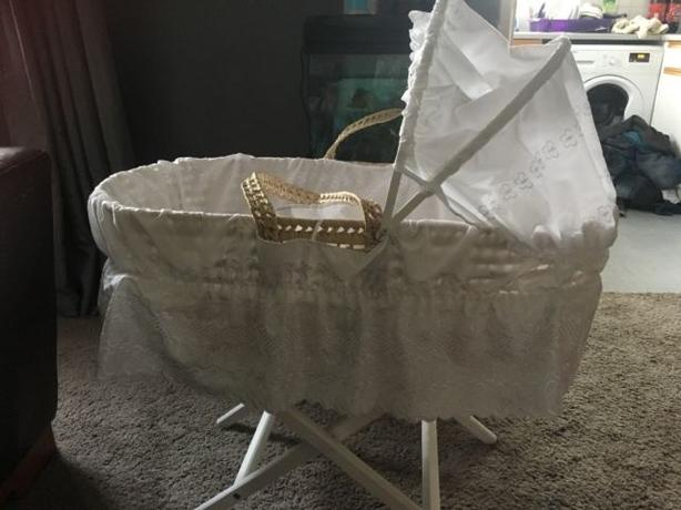 beautiful white moses basket