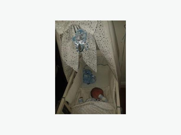 unisex white n silver canapoy crib