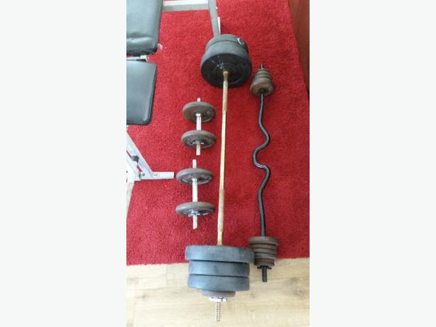 weights bench with weights 50kg+