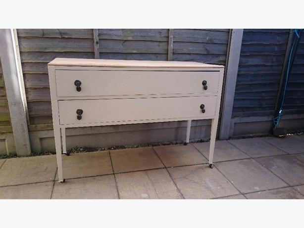 mahogany 2 drawer painted sideboard