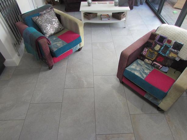 Casalgrande Padana Dragon Grey ceramic Floor tiles 45 x 90 bespoke kitchen