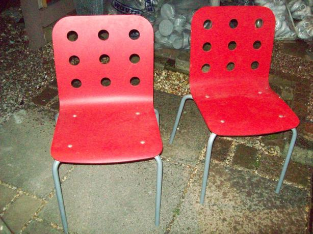 TWO RED IKEA WOOD/METAL CHAIRS