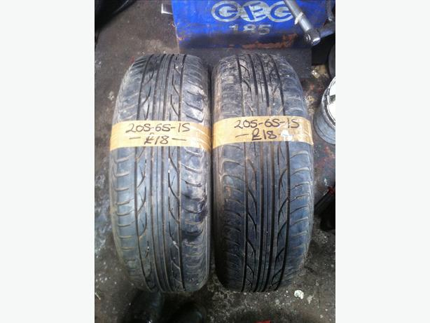 2x 205-65-15 Mohawk M112 94v 5mm Part Worn Tyres