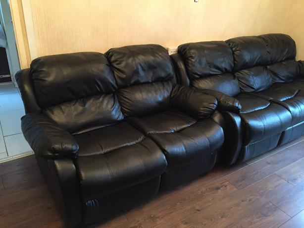 Black Leather 3, 2 & 1 Recliner Suite Sofa