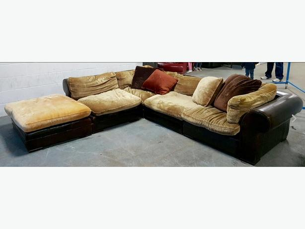 DFS/Tetrad Massive Hemmingway Leather&Fabric Corner Sofa.WE DELIVER