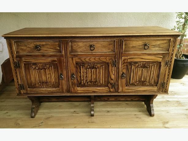 Priory / Old Charm style 3 door solid oak sideboard..
