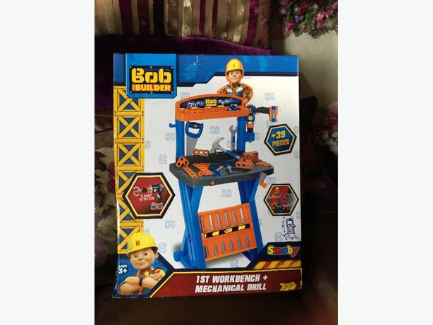 brand new bob the builder 1st work bench and mechanical drill