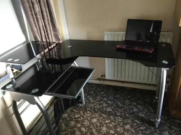 Large glass folding computer desk and chair