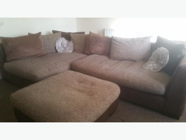 dfs corner sofa and foot stool for sale