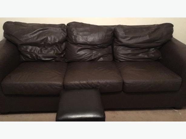 brown faux leater sofa