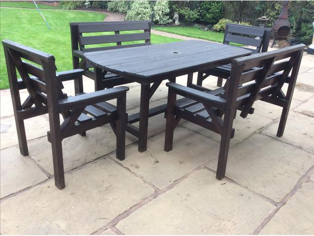 Wooden patio table and chairs