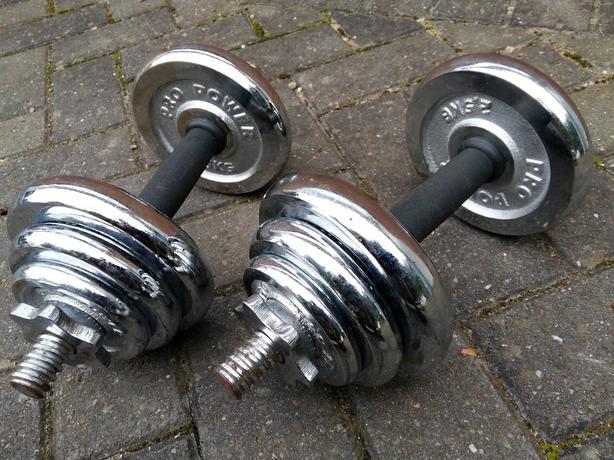 20KG PRO FITNESS CHROME CAST IRON DUMBBELL SET