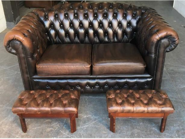 Antique Brown leather Chesterfield 2 Seat Sofa WE DELIVER UK