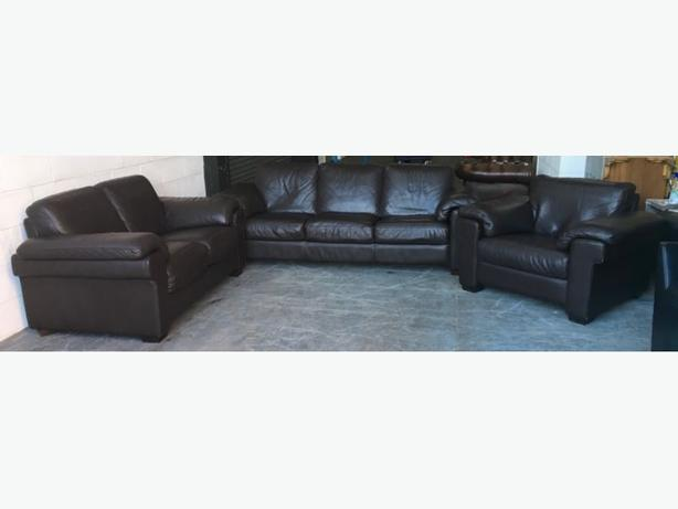 Barker & Stonehouse Thick Brown Leather 3pc Sofa Set WE DELIVER UK