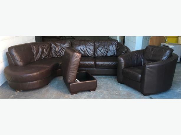 £1800 Brown Leather Corner Sofa Set WE DELIVER UK WIDE