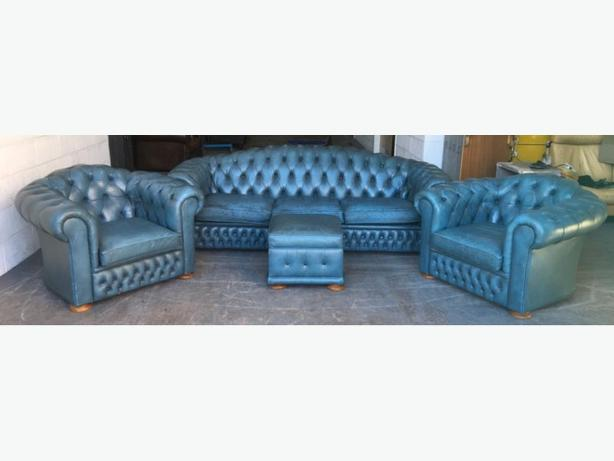 Rare Blue Leather Chesterfield 4pc Sofa Set WE DELIVER UK WIDE
