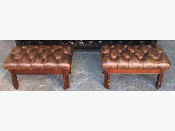 Pair Of Brown Leather Chesterfield footstools WE DELIVER UK WIDE