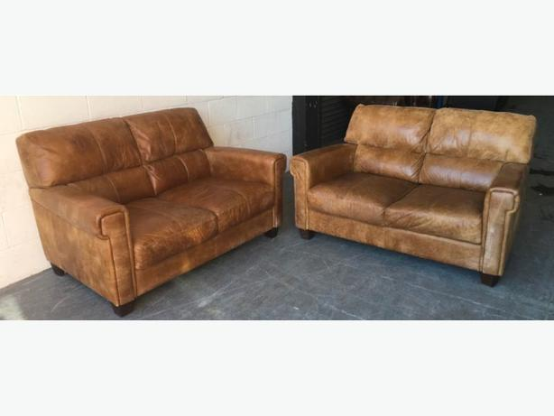Natural Tan Aniline Leather 2&2 Seat Sofa WE DELIVER UK WIDE