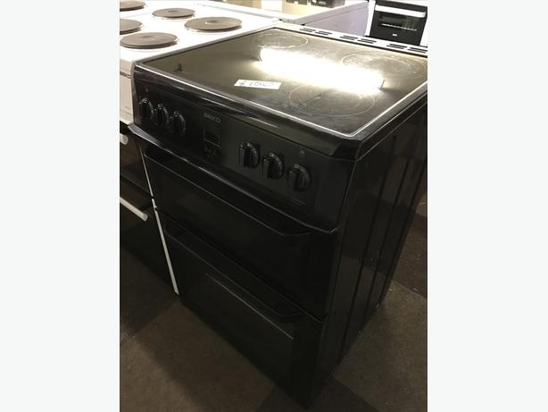 BEKO BLACK 60CM DOUBLE OVEN FAN ASSISTED ELECTRIC COOKER