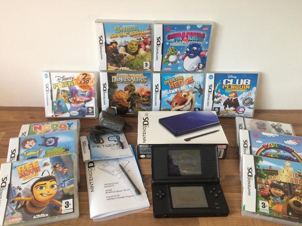 RARE COBALT BLUE NINTENDO DS LITE CONSOLE BOXED & 12 GAMES