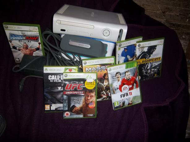 Xbox 360, 60gb hardrive, and games