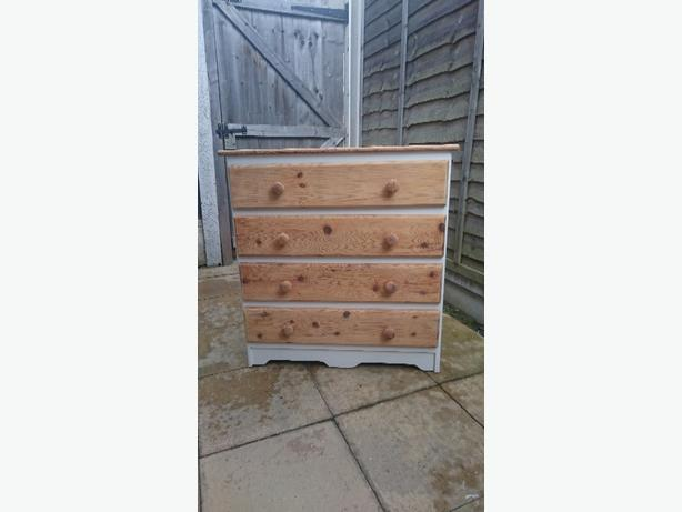 hand painted/sanded pine chest of drawers