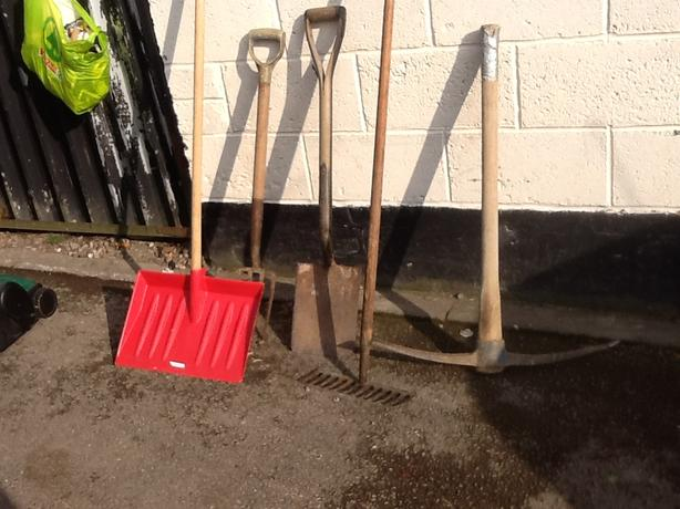 Pick axe, spade, rake, bow saw etc