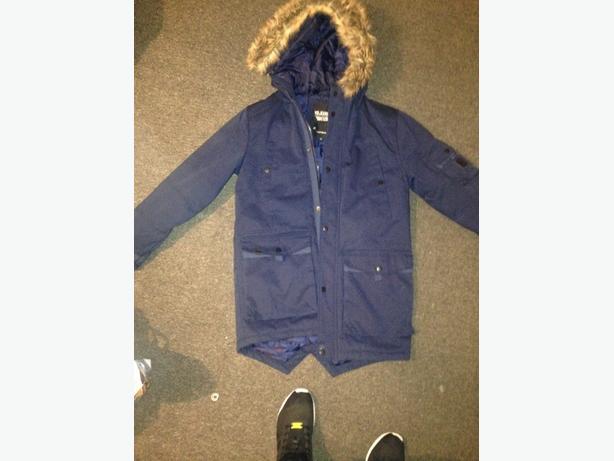 mens blue parkour voi jeans coat size medium