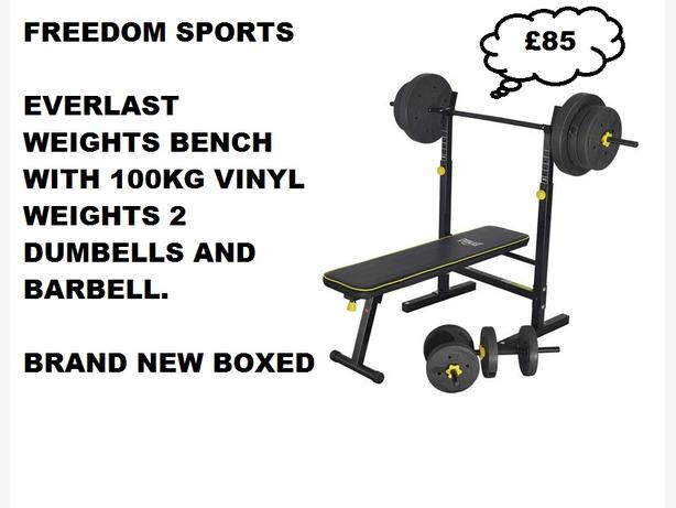 Everlast Folding Workout Bench with 100kg 2 dumbells 2 barbells Brand new boxed