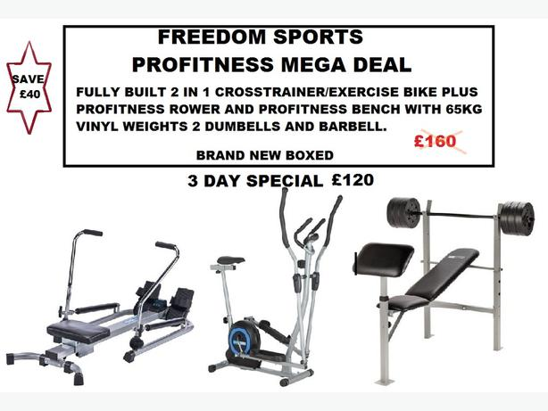 PROFITNESS CROSSTRAINER AND ROWER PLUS WEIGHTS BENCH WITH 65KG VINYL WEIGHTS SET