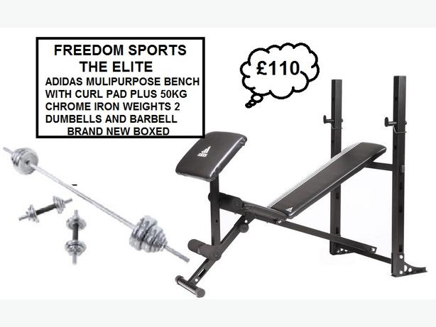 ADIDAS BENCH AND CURL PAD WITH 50KG CHROME WEIGHTS RRP £289 BRAND NEW BOXED)