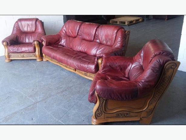 Red Leather Sofa Set. WE DELIVER
