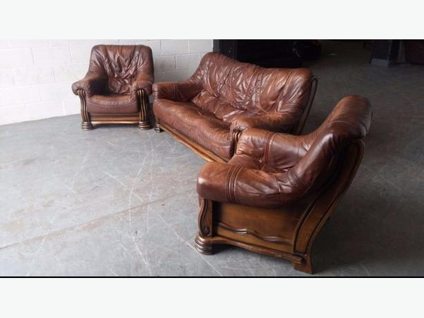 Brown Leather Sofa Set. WE DELIVER