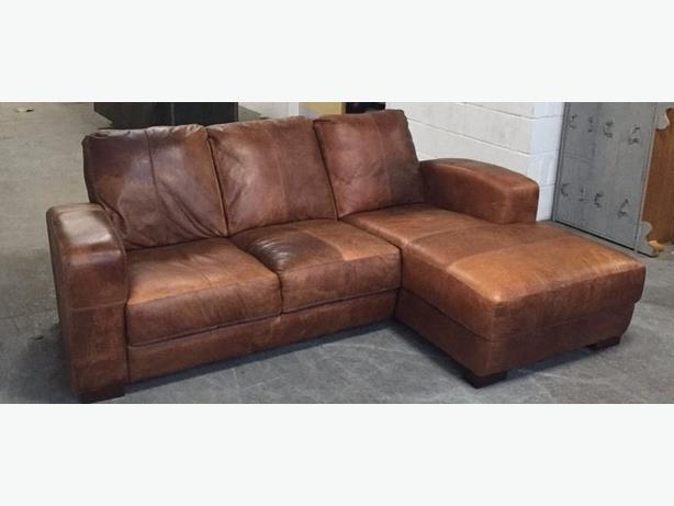 High Quality Very Thick Aniline Leather Corner / Lounger Sofa. WE DELIVER