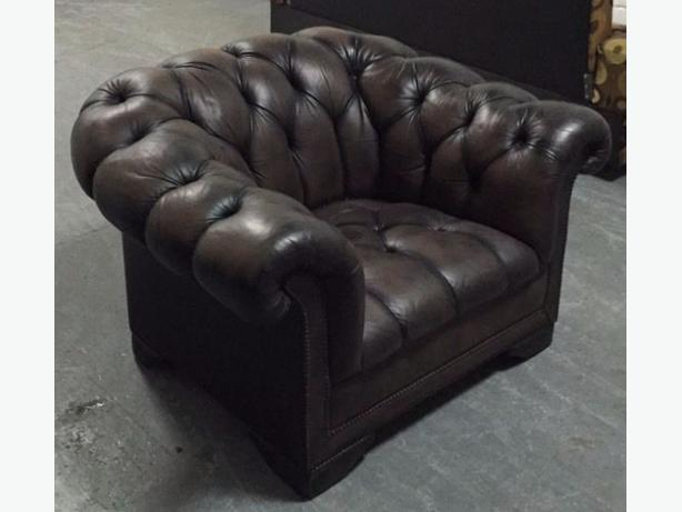 Brown Leather Chesterfield Armchair. WE DELIVER
