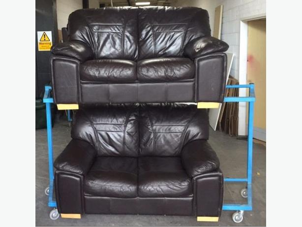 2 Brown Leather 2 Seater Sofas. WE DELIVER