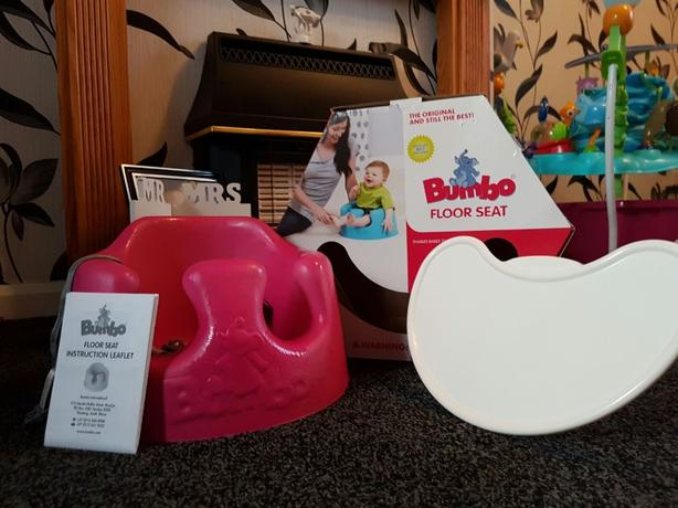 pink bumbo seat with play tray