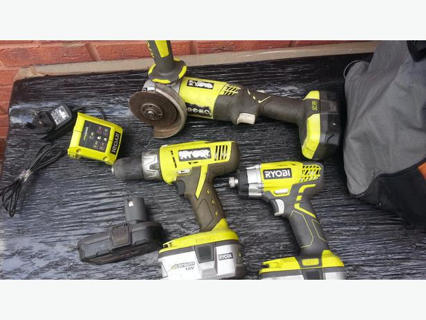 Ryobi ONE+ DRILL,GRINDER,IMPACT DRIVER KIT 3-Piece Set Lithium Ion Battery